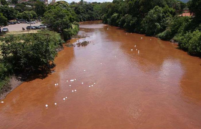 Rejeitos da barragem do Córrego do Feijão atingiram o Rio Paraopeba. Foto: Edesio Ferreira/EM/D.A Press