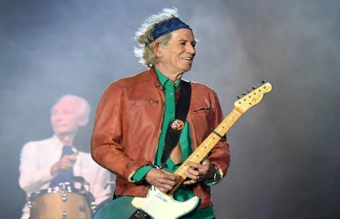 Keith Richards em show dos Rolling Stones em Marseille, na França, em junho de 2018 Foto: Boris HORVAT / AFP