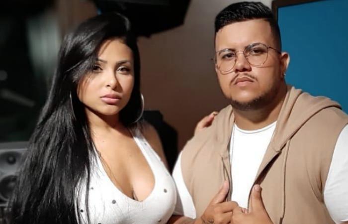 Tayara Andreza e Mc Barão juntos na gravação do clipe de Agora Chora. Foto: Instagram/Reprodução