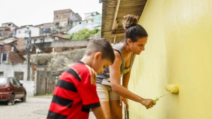 Comunidade recebeu o primeiro mutirão, que envolveu cerca de 170 famílias. Foto: Andréa Rêgo Barros/Divulgação.
