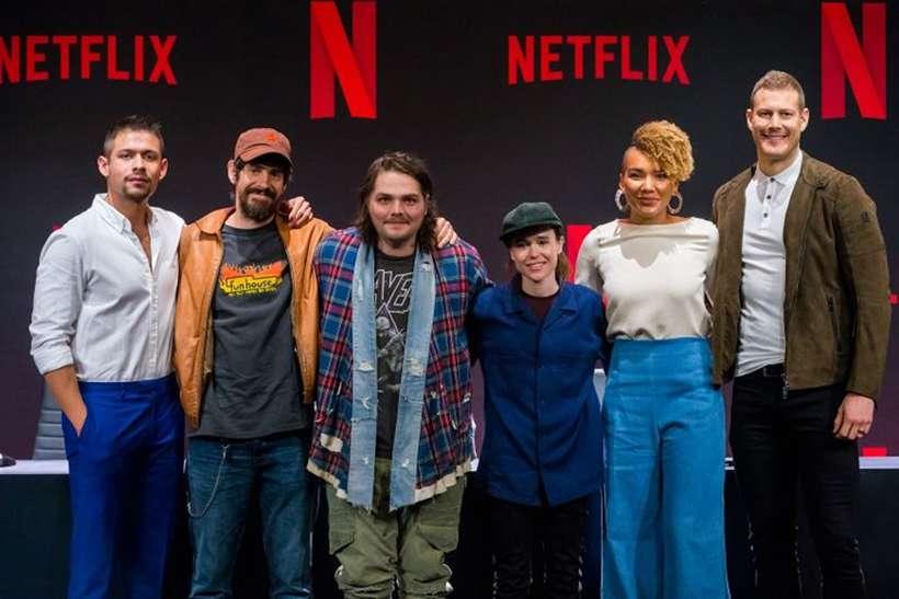 O elenco de 'The Umbrella Academy' se reúne.. Foto: Netflix / Alexandre Schneider