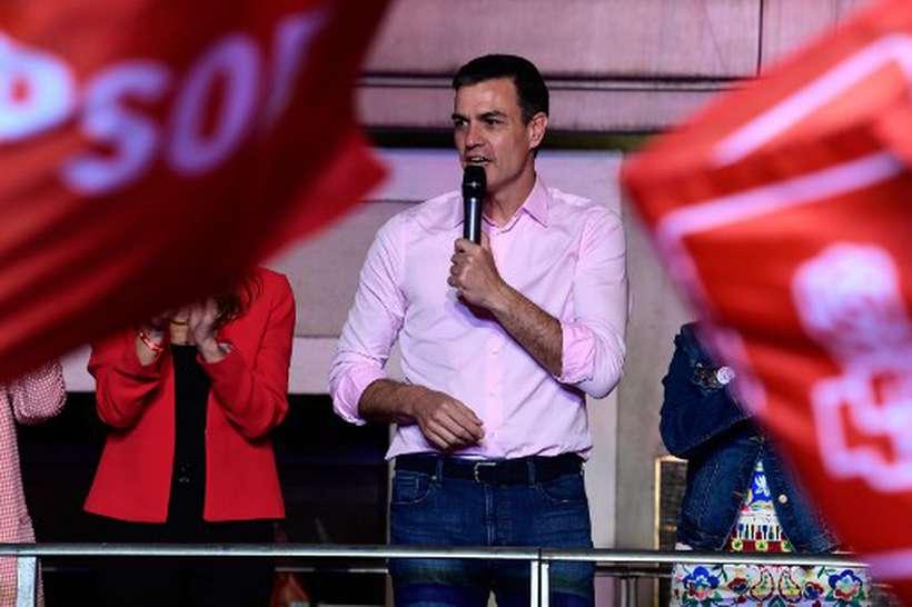 Pedro Sánchez vencedor das eleições legislativas na Espanha. Foto: Javier Soriano/AFP