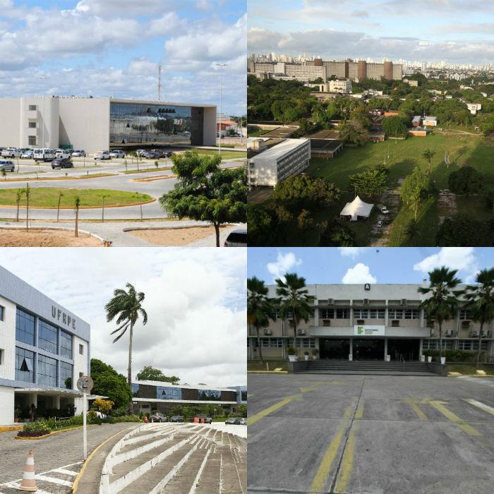 Univasf, UFPE, UFRPE e IFPE foram instituições afetadas em Pernambuco pelos cortes. Fotos: Arquivo DP.