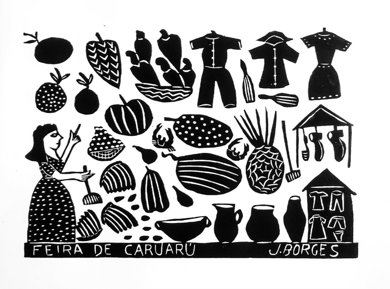 Quatro temas de xilogravuras vão ilustrar o São João de Caruaru do artista J.Borges, entre elas a Feira de Caruaru. Credito : J.Borjes Divulgação Prefeitura de Caruaru
