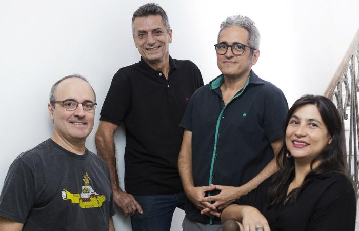 Samuca, Tarsila, Eduardo e Ronaldo na Galeria Quadrado. Foto: Társio Alves/Divulgação
