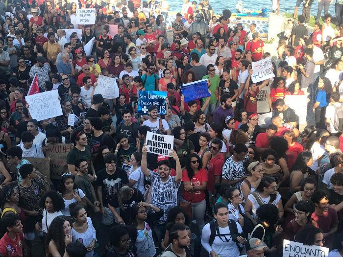 No Recife, ato teve concentração na Rua da Aurora. Foto: Samuel Calado/Esp.DP.