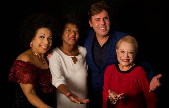 Legenda da foto: Eliane Pittman, Alaíde Costa, Márcio Gomes e Claudette Soares. Foto: Divulgação