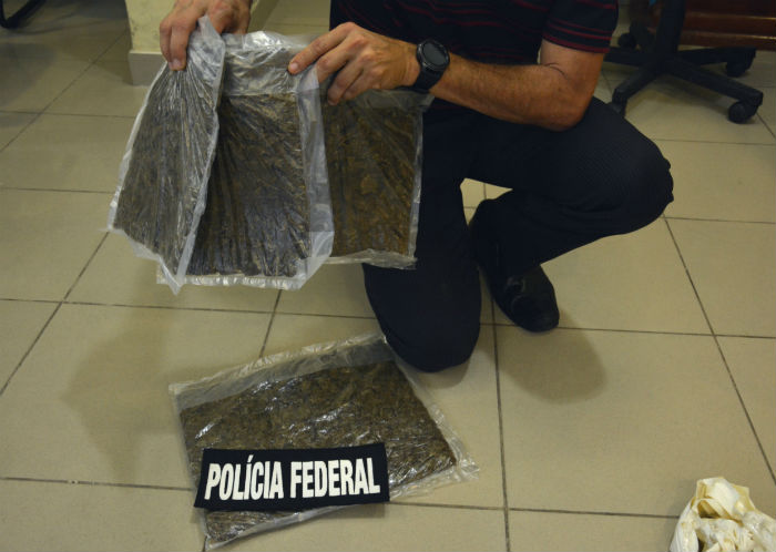 Foram apreendidos dois quilos e meio da droga. Foto: Polícia Federal / Divulgação