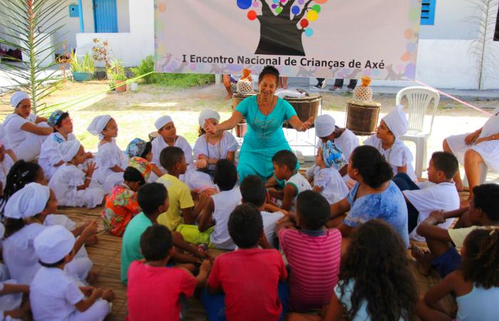 I Encontro Nacional de Crianças de Axé no Terreiro Axé Talabi, em abril de 2017. Foto: Rennan Peixe/Divulgação