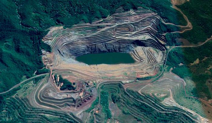 Imagem da Mina Gongo Soco por satélite. Foto: Reprodução/Google Maps