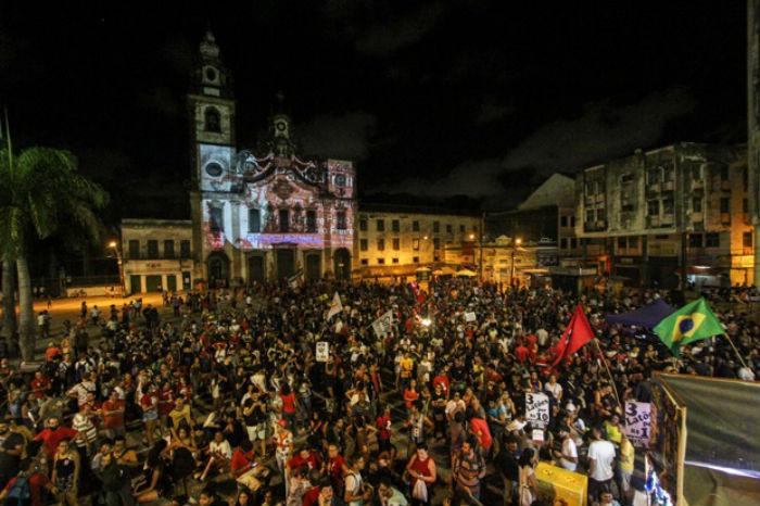 No último dia 15, primeiro ato aconteceu com caminhada até o Pátio do Carmo. Foto: Bruna Costa/Esp.DP.