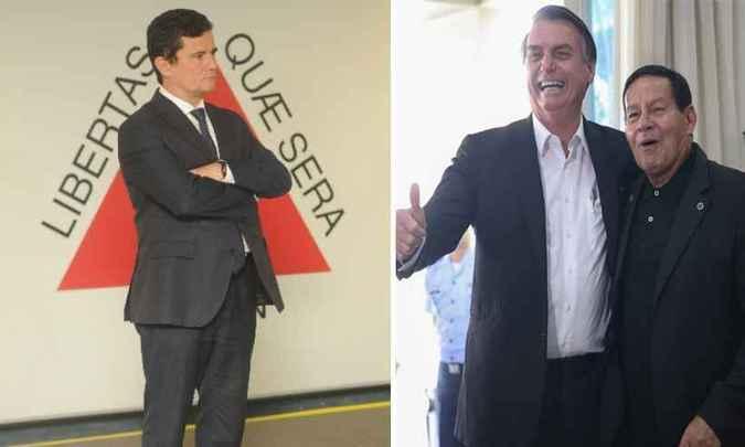 Ministro Sérgio Moro, presidente Jair Bolsonaro e o vice Hamilton Mourão. Foto: Leandro Couri/Estado de Minas e José Cruz/Agência Brasil