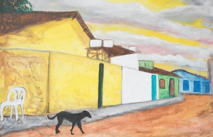 Tela Cadeira Vazia e um Cachorro. A figura do cachorro é comumente apresentada no trabalho do artista. Foto: Maurício Arraes/Divulgação