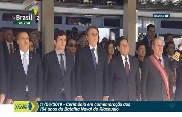Trata-se do primeiro encontro entre os dois após o vazamento de conteúdo de supostas mensagens trocadas pelo então juiz federal e integrantes do Ministério Público Federal. Foto: Reprodução/TV Brasil