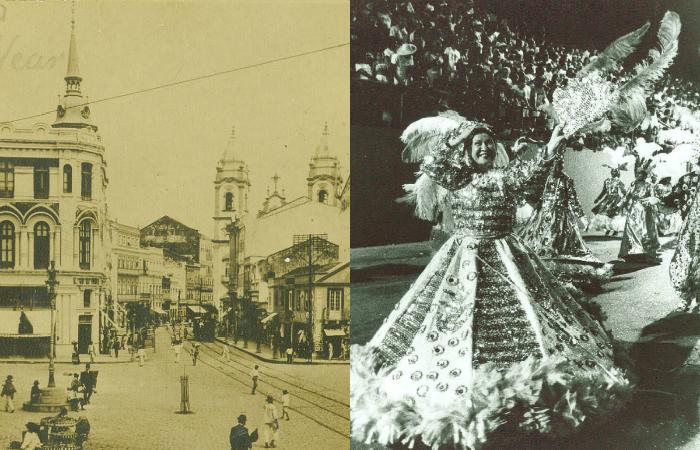 Praça da Independência em 1912 e Desfile do bloco Batutas de São Jose durante o Carnaval. Fotos: Arquivo/DP/D.A Press