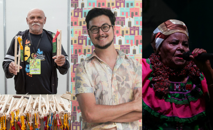 Mestre Saúba, Mestra Severina Lopes e Cleyton Cabral, alguns dos vencedores. Foto: Jorge Farias, Alex Ribeiro e Rodrigo Ramos/Divulgação