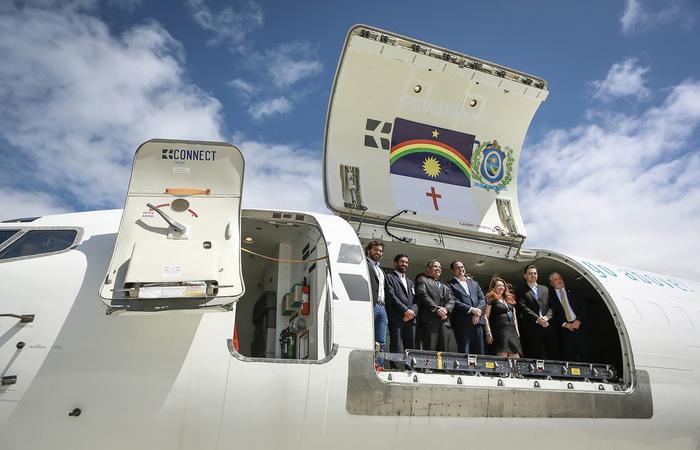 No lançamento do hub, Paulo Câmara destacou importância do operador de logística para empresas do estado. Foto: Heudes Regis/SEI/Divulgação