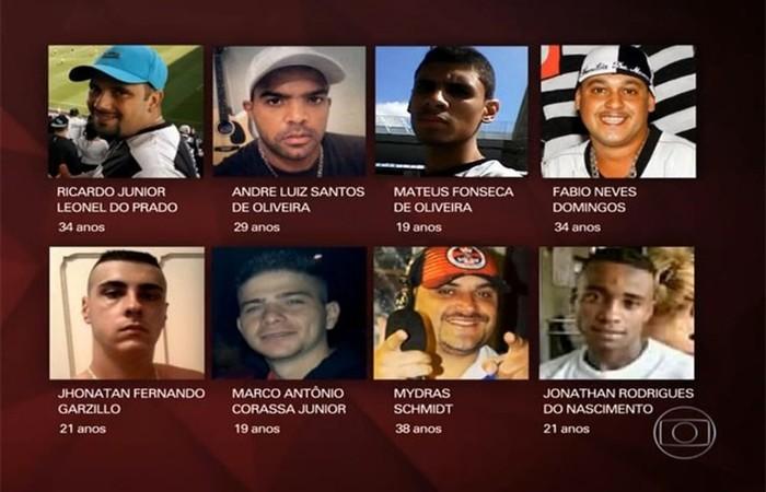 As oito pessoas mortas na sede da torcida Pavilhão Nove. Foto: TV Globo/Reprodução (Foto: TV Globo/Reprodução)
