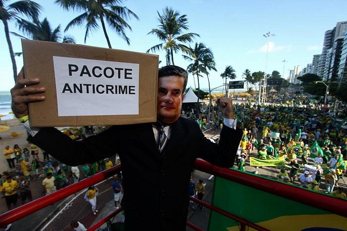A organização evitou estimar a quantidade de presentes e confirmar que a mobilização no Recife era uma defesa deliberada de Sérgio Moro.Foto: Bruna Costa/DP Foto