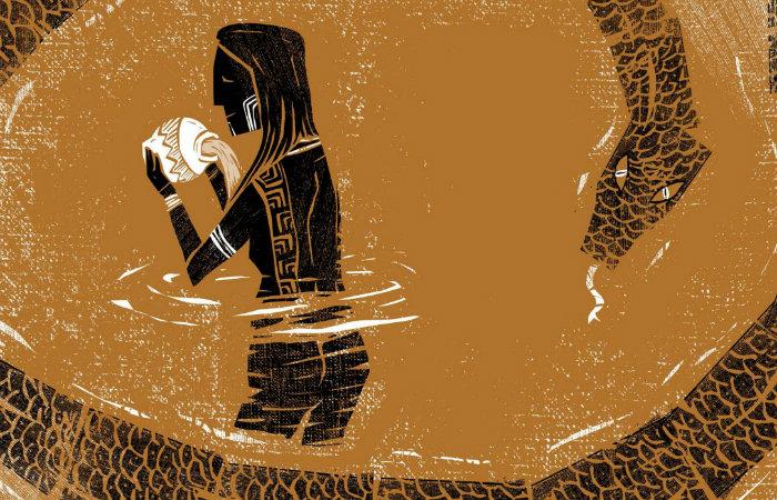O trabalho resgata elementos da xilogravura e da pintura indígena e versa sobre lenda amazônica que conta a história de uma índia que engravidou de uma sucuri - Foto: Silvino/Divulgação