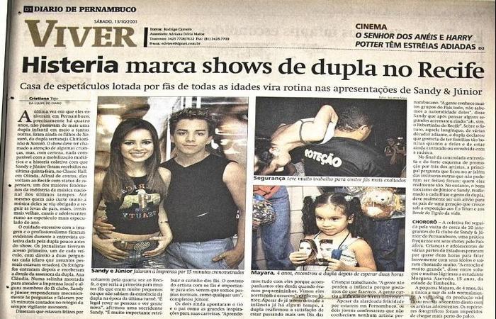 Sandy e Júnior realizaram série de três shows na capital pernambucana, em 2001 - Foto: Diario de Pernambuco/Reprodução/Cedoc
