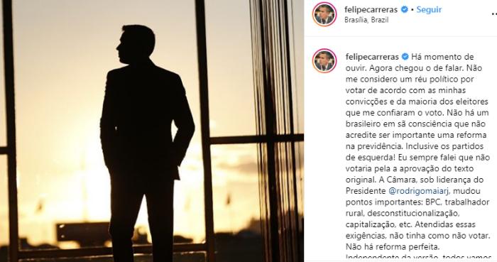 Deputado federal usou o Instagram para o seu desabafo. Reprodução /Instagram