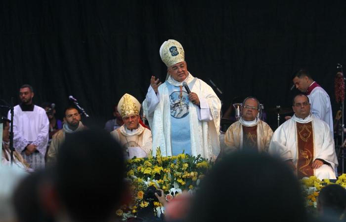 """""""Vocês fizeram um grande sacrifício em sair de casa e estar aqui"""", agradeceu dom Orani, arcebispo do Rio - Bruna Costa/Esp. DP"""