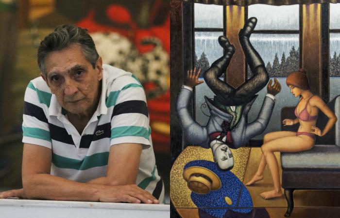 João Câmara Filho à esquerda. Tela Zembla (2014) à direita. Foto: Tarciso Augusto/Esp. DP