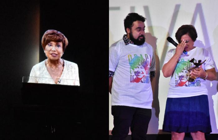 Holograma de Graça Araújo e sua irmã Conceição Araújo recebendo o Calunga de Ouro. Fotos: Felipe Souto Maior/Divulgação