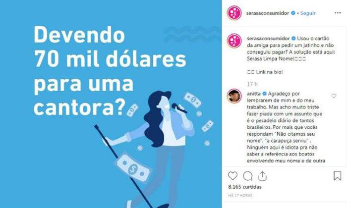 A propaganda foi veiculada nas redes sociais da Serasa Experience. Foto: Reprodução/Instagram