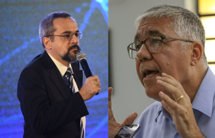 O ministro Abraham Weintraub apresentou o Future-se em 17 de julho; o reitor da UFPE, Anísio Brasileiro, acredita que projeto é desnecessário - Montagem/Fotos: Luis Fortes/MEC e Tarciso Augusto/Esp. DP