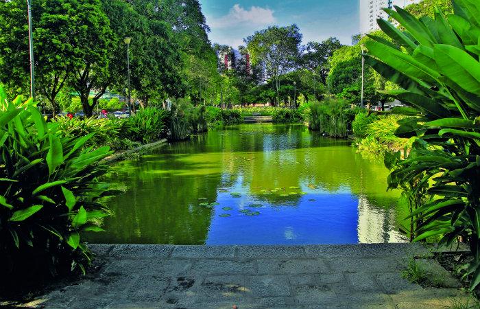 Praça de Casa Forte, o primeiro projeto paisagístico de Burle Marx no Recife. Foto: Sérgio Lôbo/Divulgação