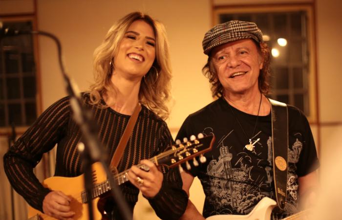 Bia Villa-Chan e Armadinho Macedo nas gravações de Via Boa. Foto: Marcelo Ferreira/Divulgação