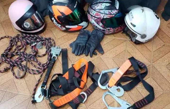 Equipamentos de rapel foram utilizados em 15 furtos, em Patos de Minas. Foto: Polícia Civil/Divulgação