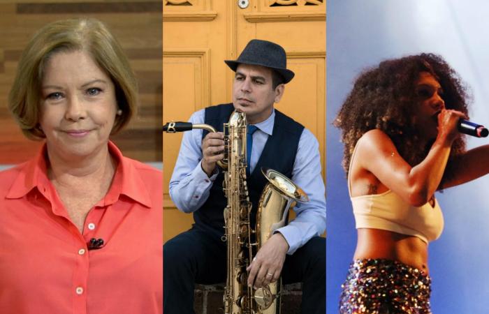 Eliane Cantanhêde, Maestro Spok e Bell Puã, do Slam das Minas.Foto: Globo News, Edson Acioli e Divulgação