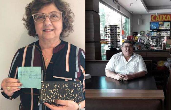 Maria Mazzarela Zaidan, de 67 anos, recuperou sua carteira após um ano com o dono de restaurante Geraldo da Costa, de 69 anos - Créditos: Arquivo pessoal/Reprodução.