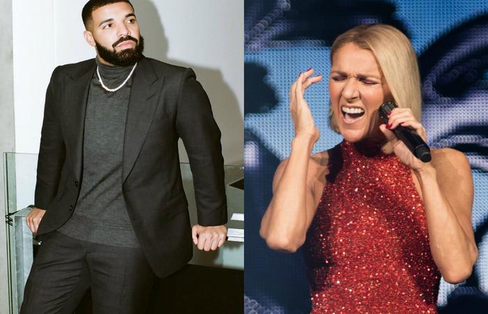 Drake e Celine Dion - Créditos: Instagram/AFP.