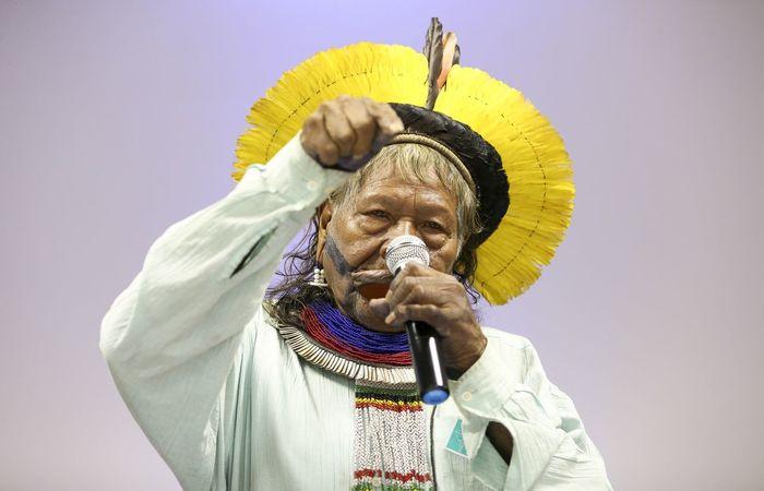 """Para Raoni, Bolsonaro mostra que seu """"coração não é bom"""" ao indicar que os índios devem viver como os não indígenas - Foto: Marcelo Camargo/Agência Brasil"""