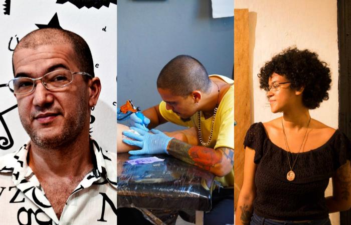 João Lin, Nando Zevê (organizador) e Ianah. Foto: Divulgação