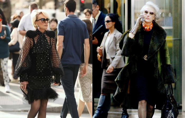Ana Maria foi uma das convidadas para assistir o desfile da grife francesa Balmain. Ela usou um vestido da marca na cor preta, com transparência, poá (bolinha), ombros marcados e aplicações de metal - Foto: Instagram/Reprodução.