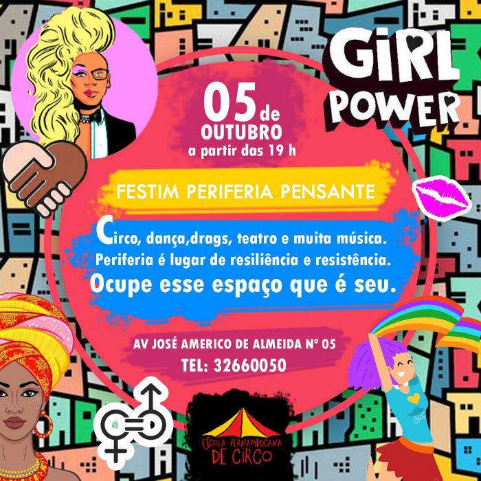 Festim Periferia Pensante acontece no dia 5 de setembro, das 19h às 23h, na sede da Escola, Macaxeira. Divulgação