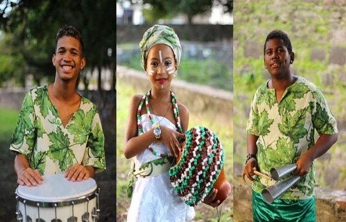 Percussionistas do Afoxé Obá Iroko. Foto: Samuel Calado/DP