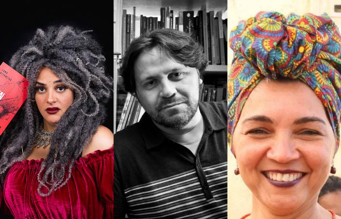 Luna Vitrolina, Marcelino Freire e Marileide Alves. Foto: Rennan Peixe/Divulgação, Mário Miranda Filho/Divulgação e Facebook/Reprodução
