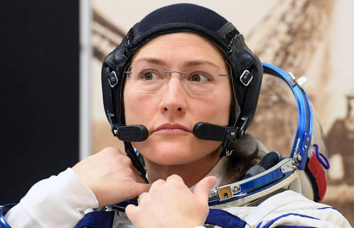 Na imagem, Christina Hammock Koch, membro da Estação Espacial Internacional. Foto: Kirill Kudryavtsev/AFP