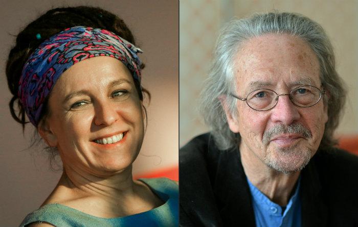 Autora polonesa Olga Tokarczuk e o romancista e dramaturgo austríaco Peter Handke. Foto: Barbara Gindl, Beata Zawrel/APA/AFP