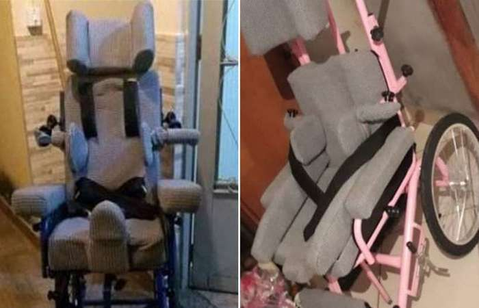 Na segunda (8/10), na Vila Clóris, na Região Norte de Belo Horizonte, ladrões levaram a cadeira de rodas da filha de Patrícia Kele, Ana Luiza - Foto: Reprodução/Facebook.
