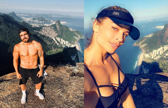 Os dois atores fizeram uma trilha na Pedra da Gávea, no Rio de Janeiro, e publicaram em suas redes algumas fotos - Foto: Instagram/Reprodução.