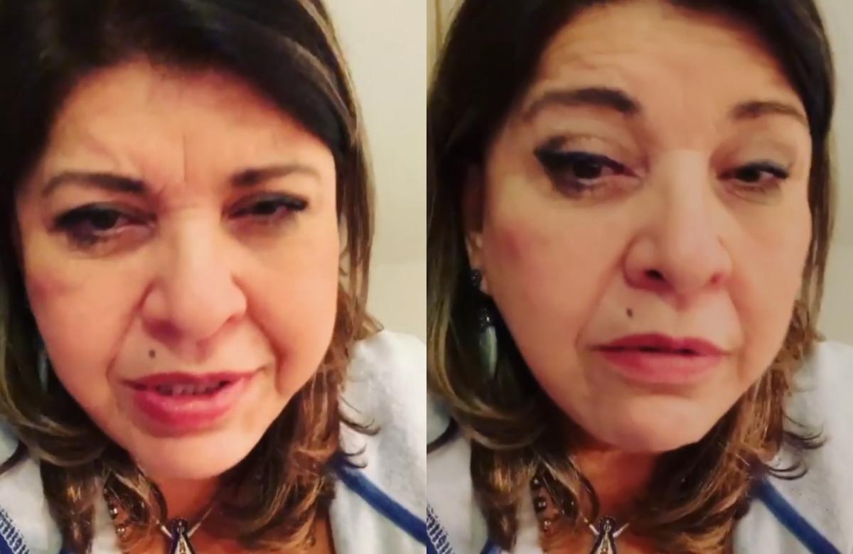 Em vídeos no Stories, Miranda disse que conhece muitos médicos em São Paulo e, por isso, decidiu levar o seu apoio para o cantor, mas foi barrada pelo segurança (Foto: Reprodução/Instagram. )