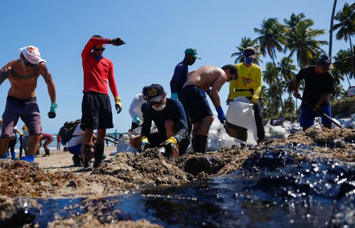 Voluntários e agentes públicos se uniram para limpar Praia do Paiva nessa segunda-feira (21) (Foto: Leandro de Santana/Esp. DP.)