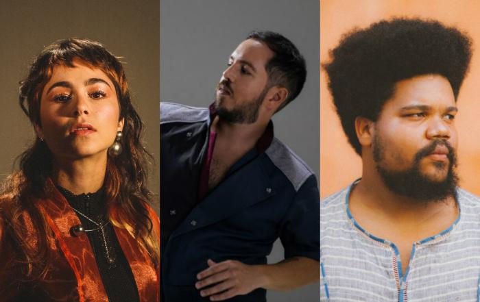 Flaira Ferro, Barro e Amaro Freitas. Foto: Matheus Melo, Louise Vas e Helder Tavares/Divulgação